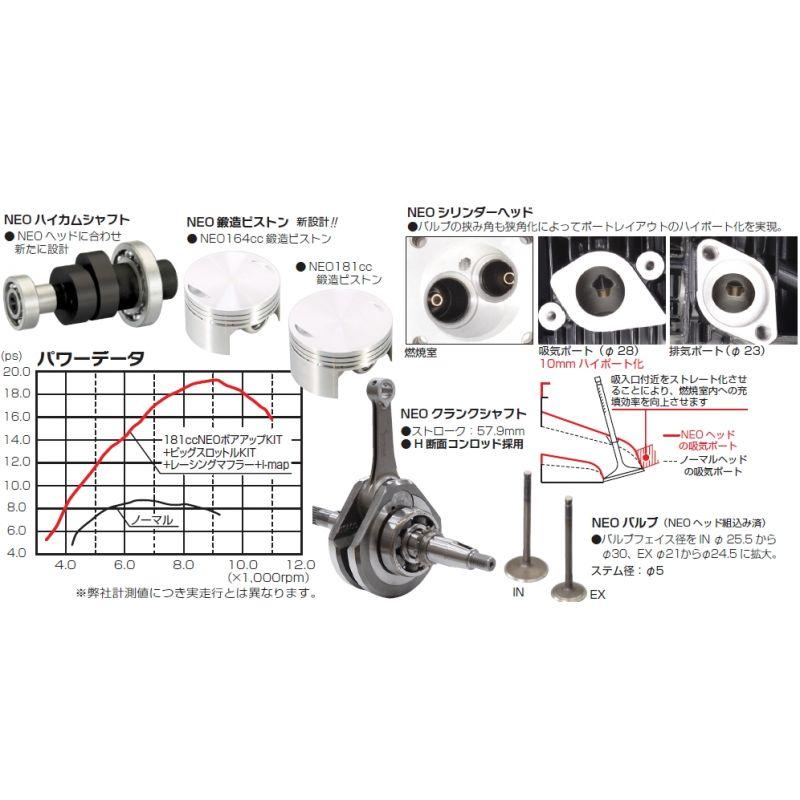 Kitaco NEO 2V Big bore kit 181cc for Honda MSX GROM Monkey
