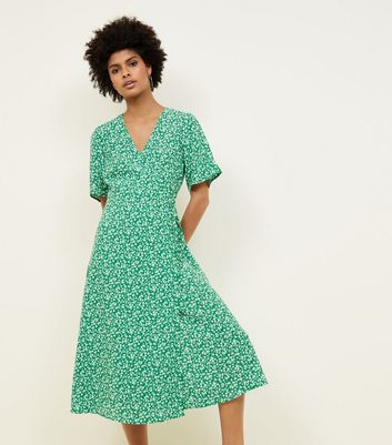 Green Floral Wrap Front Midi Dress