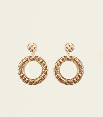 Gold Quilted Embossed Disc Earrings