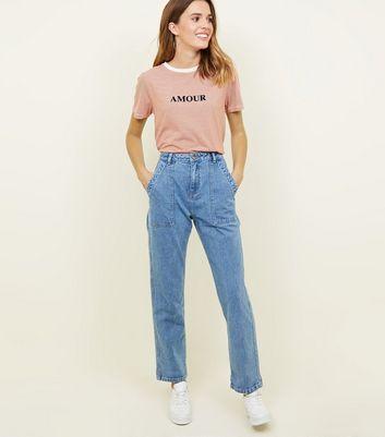 Blue patch pocket high waist boyfriend jeans also super skinny rise new look rh newlook