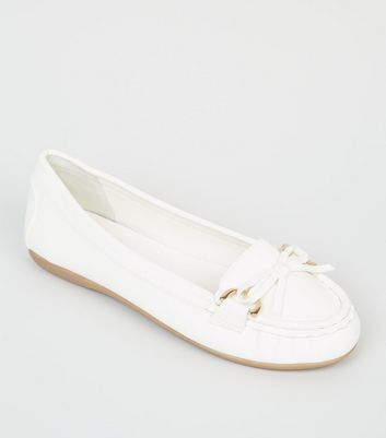 Womens White Leather Slip On Shoes