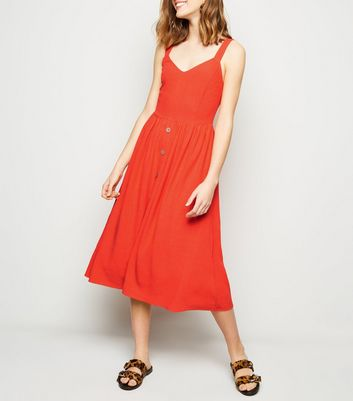 Red Button Front Midi Dress