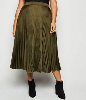Curves Satin Pleated Midi Skirt in khaki. Plus size maternity clothes