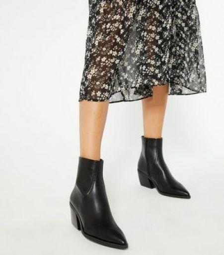 Black Pointed Block Heel Western Boots New Look