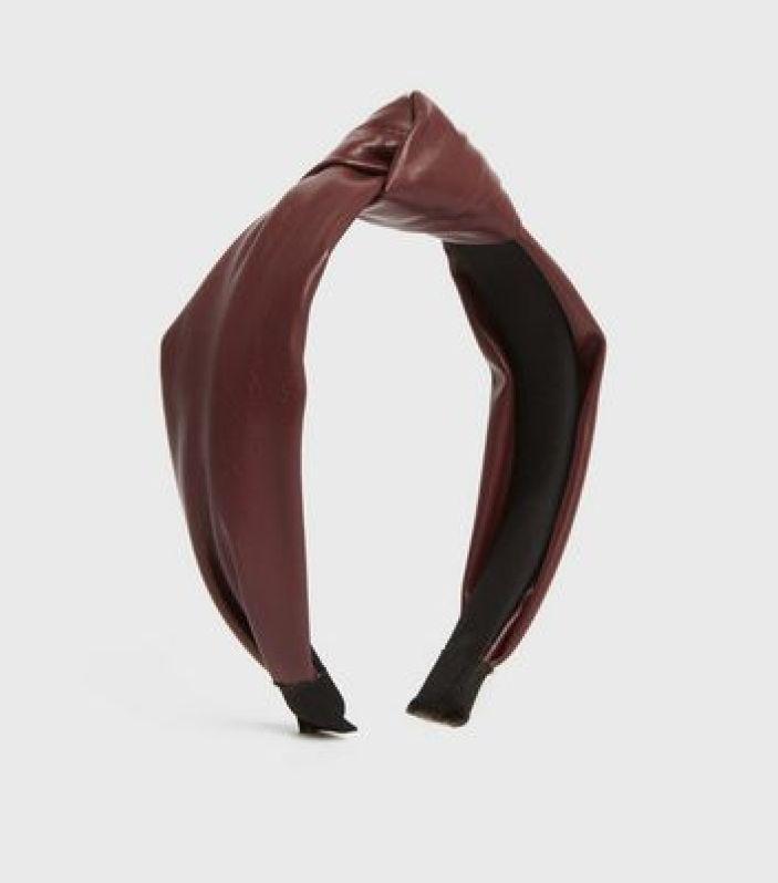 Dark Red Leather-Look Knot Headband