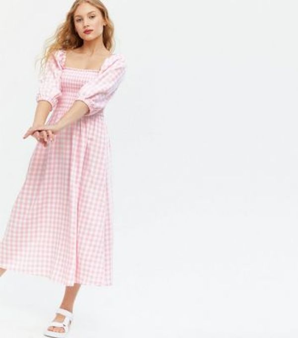 Pink Gingham Shirred Square Neck Midi Dress new look