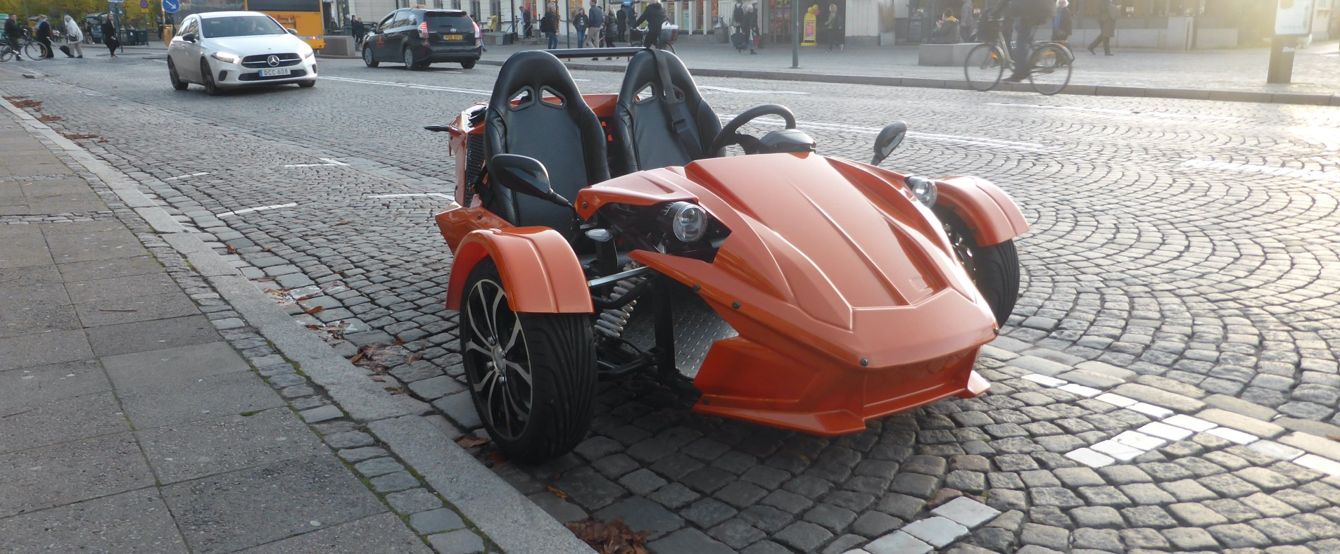 OMotion ETR, three wheeled motorcycle. Parked in city of Lund, Sweden.