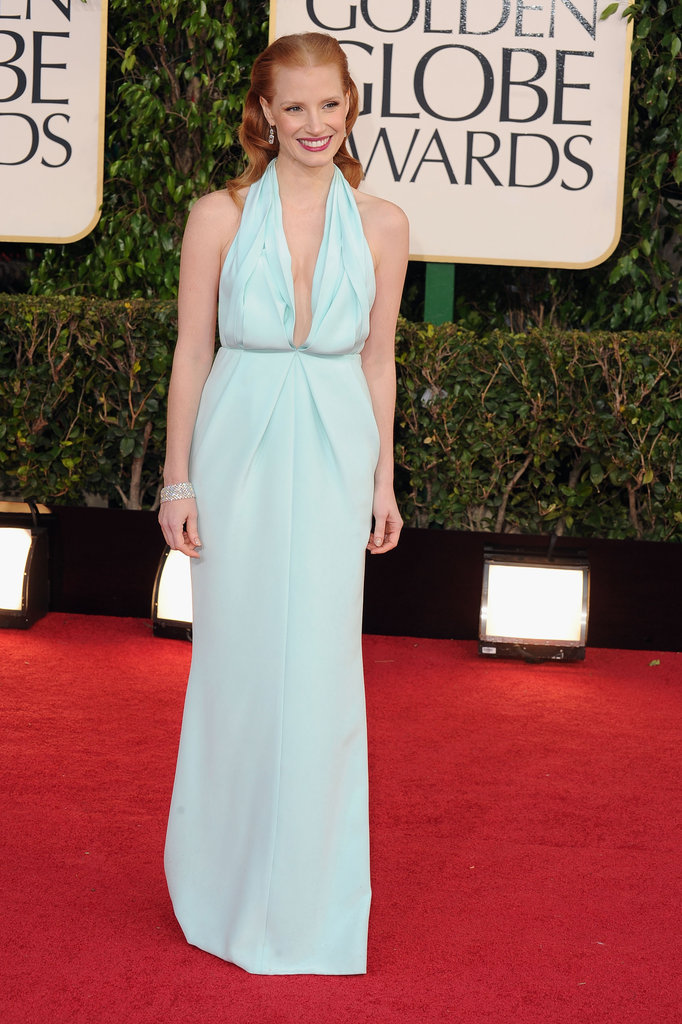 Jessica Chastain in Calvin Klein Collection at the 2013 Golden Globe Awards
