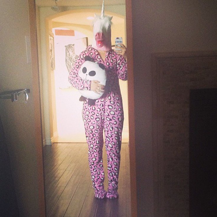 "Lucy Hale dressed up as a ""rare jagicorn.""<br /><br /> Source: Instagram user lucyhale<br /><br />"