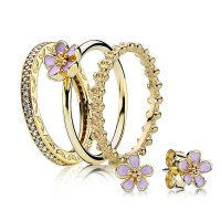 pandora gold rings with diamonds