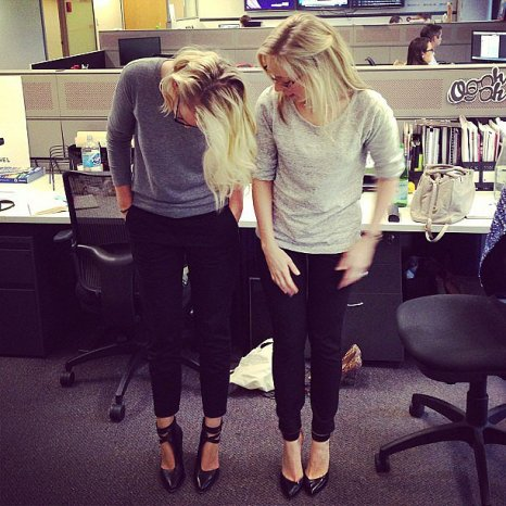 Matching! The Alisons of the office — health and beauty editor on the left, fashion editor on the right — were on the same style track yesterday.
