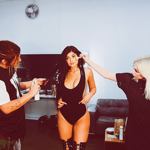 Kylie Shared a Behind-the-Scenes Snap in a Sexy Black Swimsuit