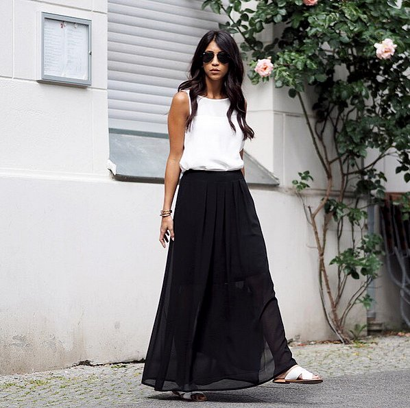 Tucked Into a Maxi Skirt