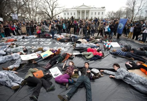 Image: A protest against the proposed Keystone XL oil pipeline
