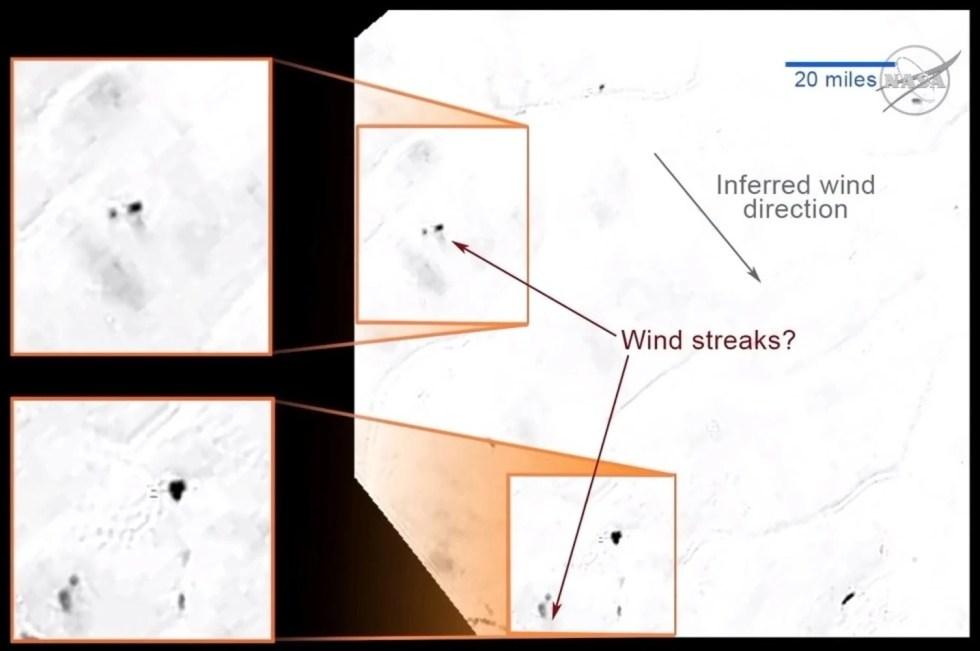 Jalur hitam yang kelihatan mungkin tanda pergerakan angin di Pluto