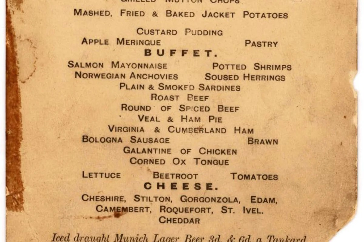HighSeas History Menu for Last Lunch on Titanic Up for