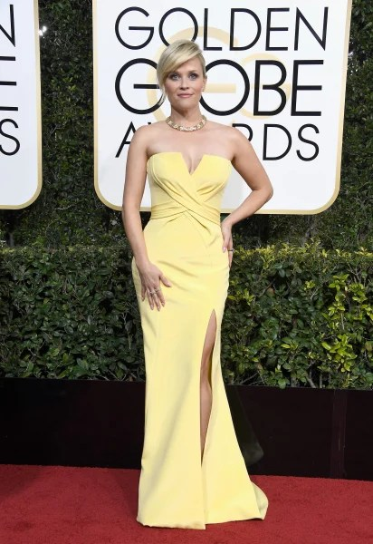 Image result for golden globes red carpet fashion 2017 reese witherspoon