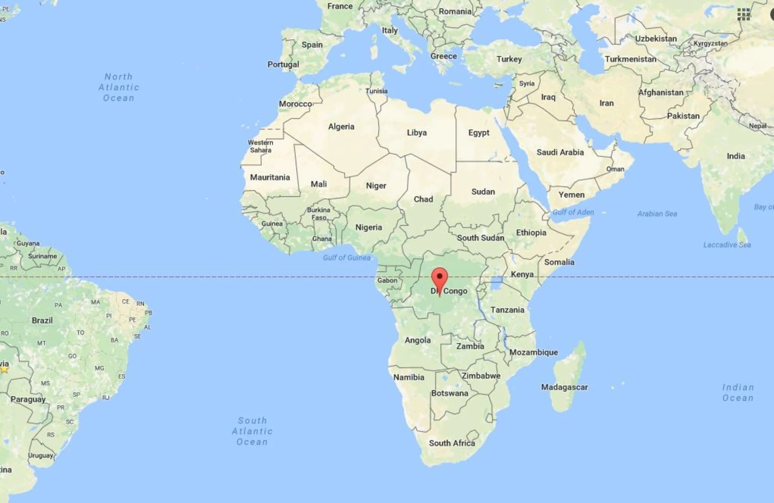 Image Map showing the location of the Democratic Republic of Congo