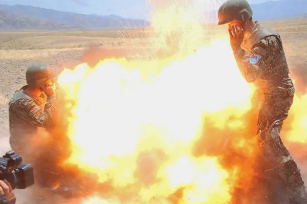 Image: Afghan Army photojournalist image of mortar exploding