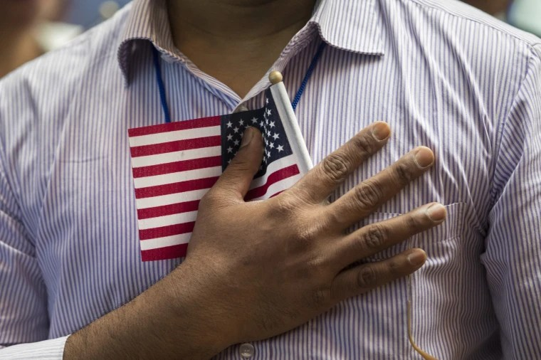 Image: Immigrants From Over 50 Countries Become U.S. Citizens At The New York Public Library