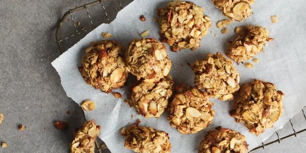 Double Ginger Banana-Almond Oatmeal Cookies