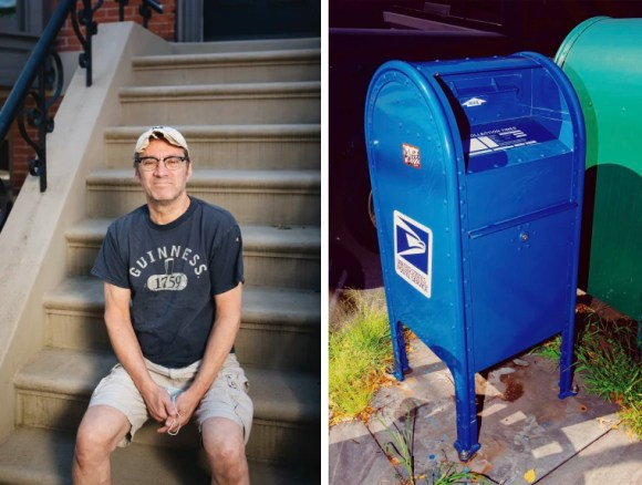 """Image: """"Never again,"""" will Paul Albasi mail checks through the mailbox at the corner of Pavonia Ave. and Coles St."""