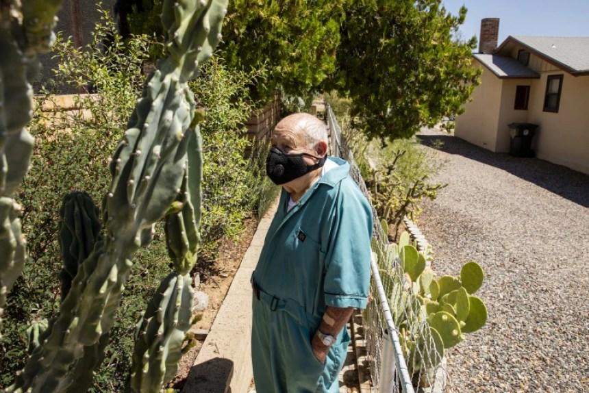 Image: Eddie Pattillo in his backyard garden