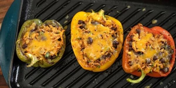 Chicken Tinga Burrito-Stuffed Bell Peppers