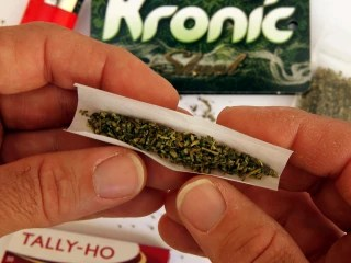 A synthetic cannabis product named 'Kronic' which is legal to buy in Australia, on sale at the 'Fulfillment Adult Shop' in Newcastle, costing $50 for ...