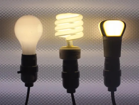 IMAGE: Incandescent, compact fluorescent and LED light bulbs. (John Brecher / NBCNews)