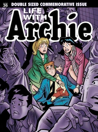 "The death of Archie is portrayed on the cover of the July issue of ""Life with Archie."""