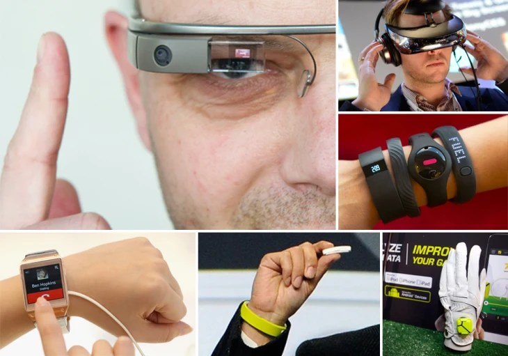 Clockwise from top left: Google Glass, Sony Head Mounted Display, various fitness trackers, Zepp sensor, Sony Smartband and Core and Samsung Galaxy Ge...