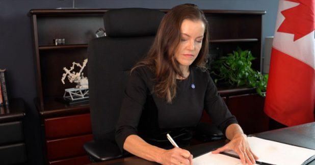 Canadian Space Agency President Lisa Campbell signs the US Artemis Accords