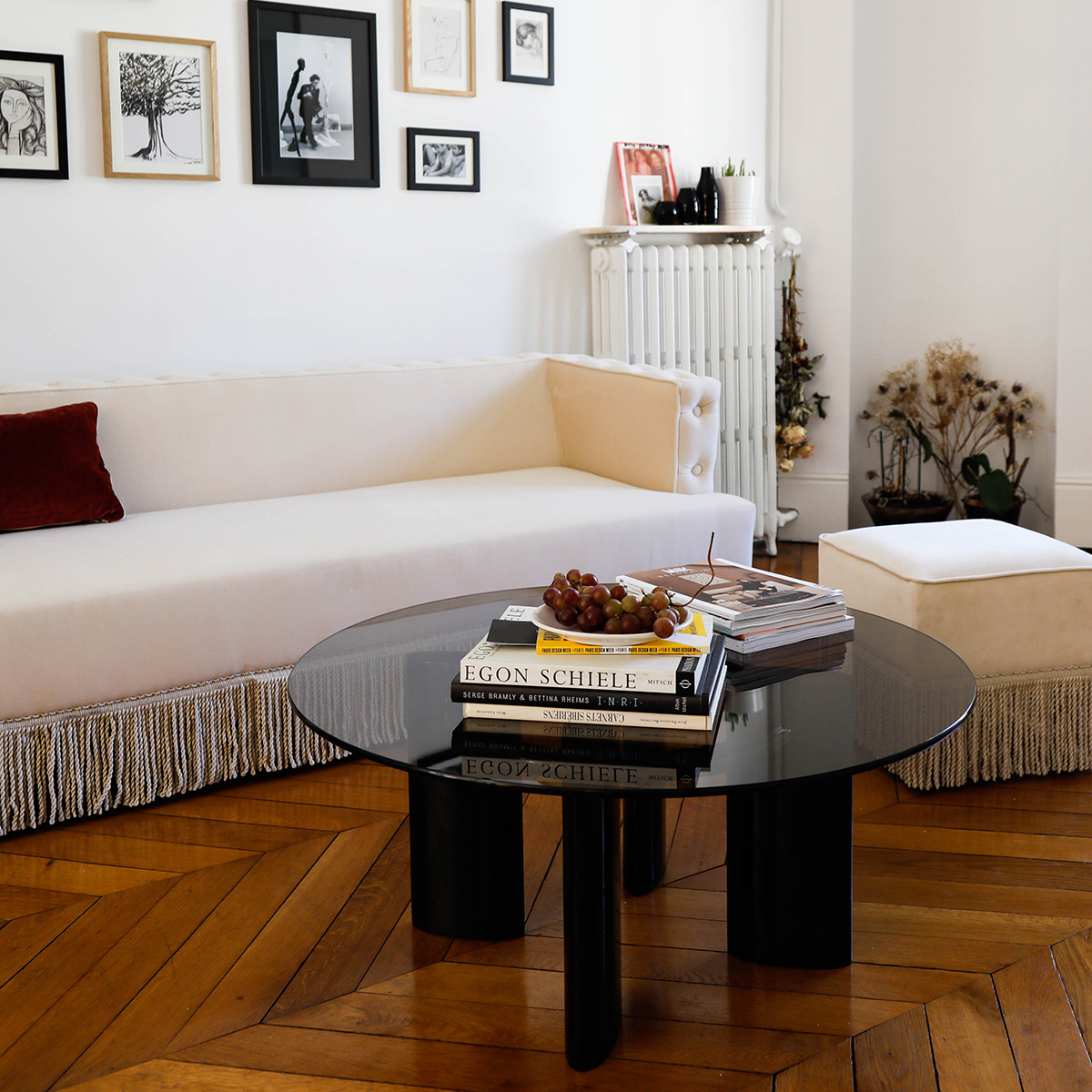 coffee table with black lacquered legs