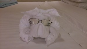 Handdukshund med Lasses glasögon