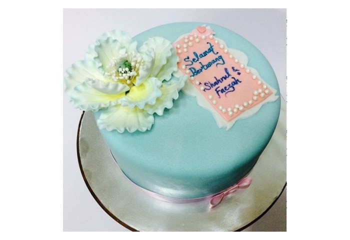 Engagement Cake With Fondant Flower Fb