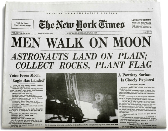 men walk on moon, new york times
