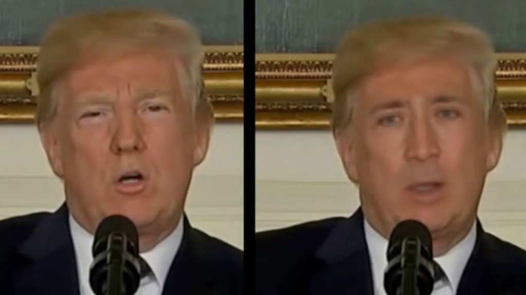 deepfake of Nicolas Cage's face on Donald Trump's