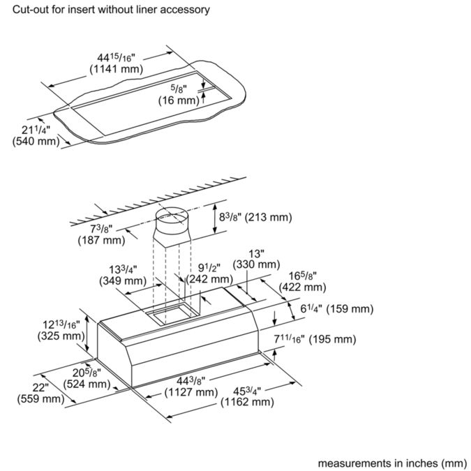 VCIN48GWS 48-inch Professional® Custom Insert, Optional