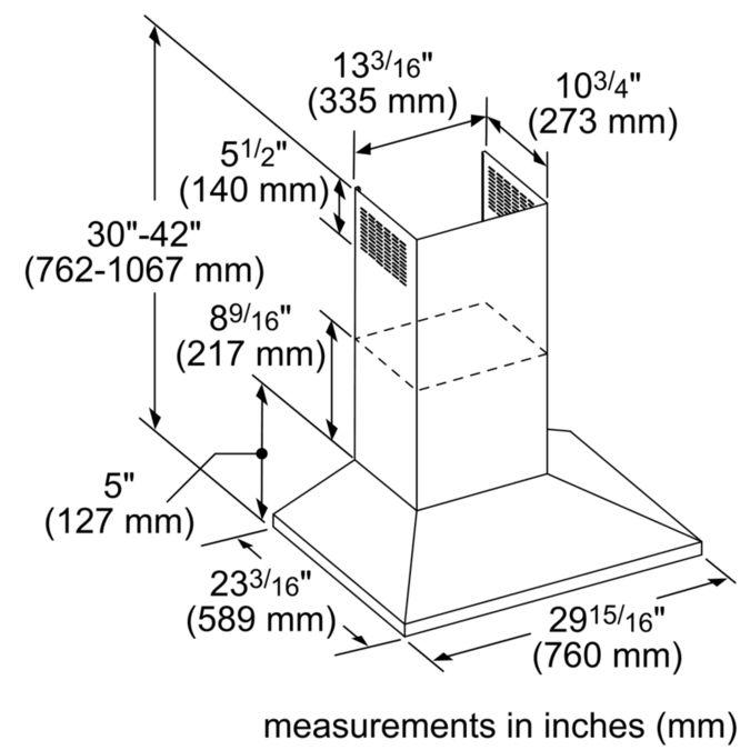 HMCB30WS 30-inch Masterpiece® Pyramid Chimney Wall Hood