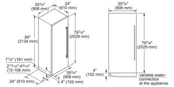 36 inch Built in Freezer Column w/ internal Ice Maker