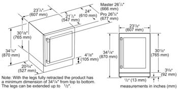 24 3/16'' Glass Door Wine Reserve Left Hinge Custom Panel