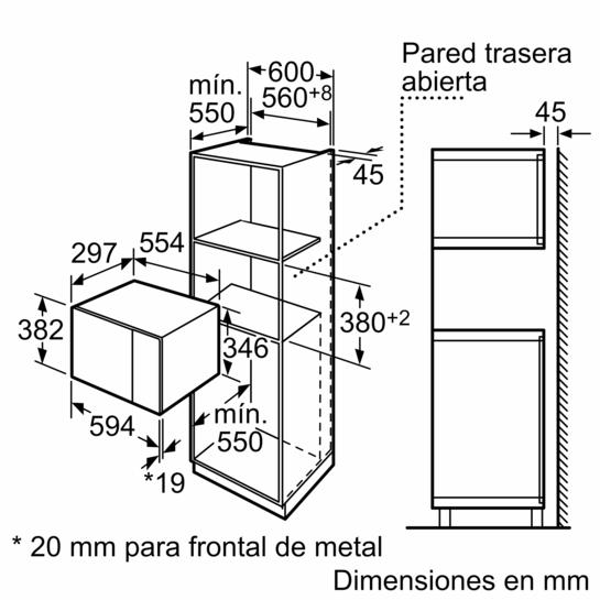 Microondas sin marco Cristal negro con acero inoxidable