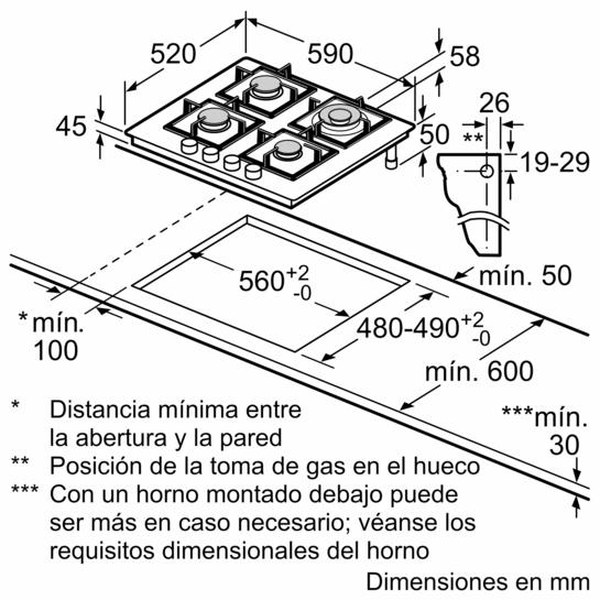 Placa de gas de 60 cm de ancho Cristal templado