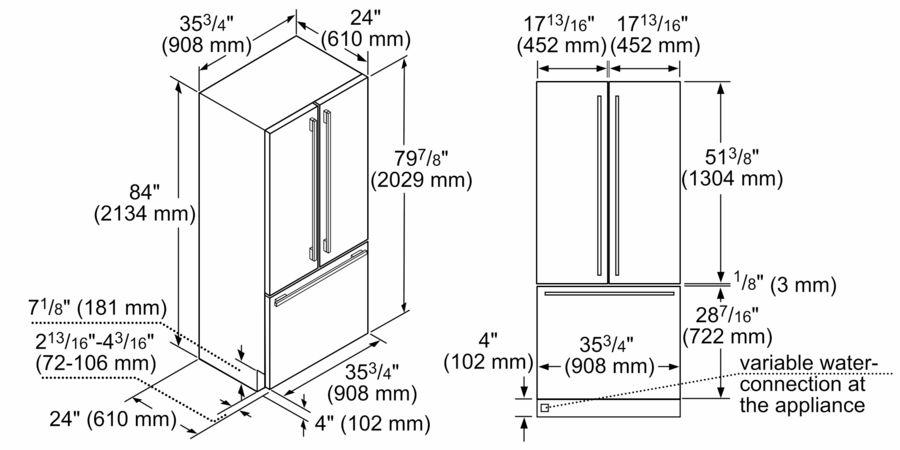 36 inch Built-In French Door Bottom-Freezer Model T36IT800NP