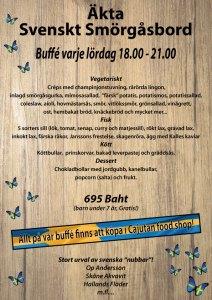 Svenskt smörgåsbord med svenska delikatesser, köttbullar, sill m.m. på Cajutan i Bangkok