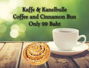 Fika at Cajutan in Bangkok. Coffee and Cinnamon Bun