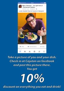 10% discount on swedish food and drink at restaurant cajutan in bangkok when check in on facebook