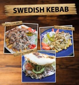 Kebabtallrik och Kebab med bröd finner du på Cajutan i Bangkok
