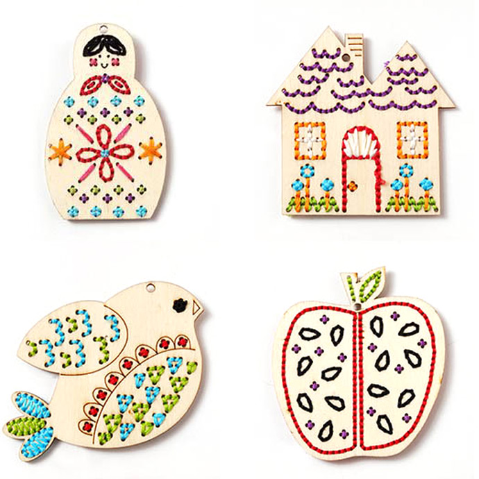 Babushka, House, Bird, and Apples Stitchables